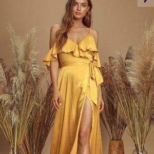 Lulus moriah mustard yellow satin wrap maxi dress